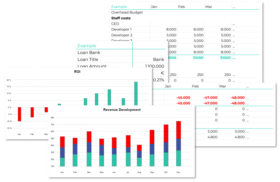Charts of ROI, Revenue Development, Profit and loss statement, loan bank and overhead