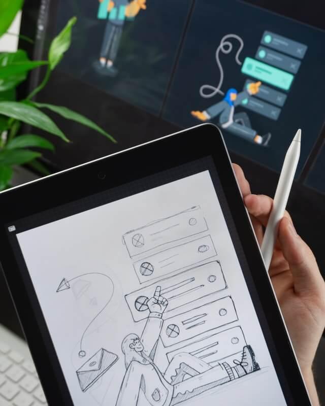 Digiboost RLP Tablet mit Digitalisierungszeichnung
