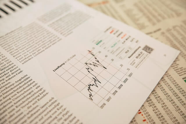 Fotography of a newspaper chart showing market changes