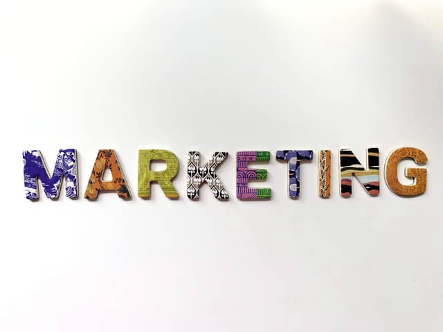 Typography showing the word marketing written in a creative way