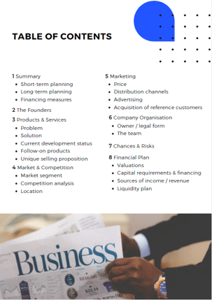 Example of business plan table of contents